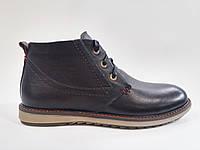 Кожаные мужские комфортные стильные черные зимние ботинки, натуральная шерсть 40 Veber