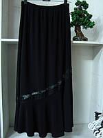Женская длинная юбка годе черного цвета масло, фото 1