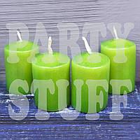 Свечи декоративные зеленые 4х5,5 см, 4 шт