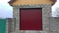 Ворота гаражные секционные ТМ Алютех RAL 3004 пурпурно-красный