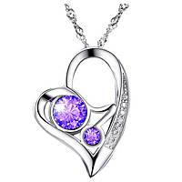 Кулон сердце серебро и Swarovski elements фиолет и камни