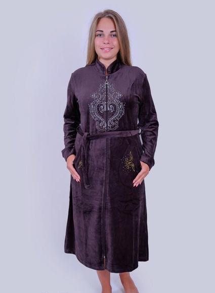 Велюровый халат женский Большой узор