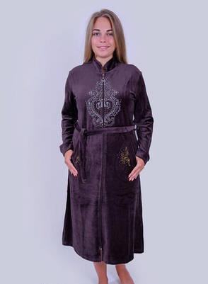 Велюровый халат женский Большой узор, фото 2