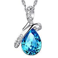 Кулон с цепочкой синяя капля с камнями Swarovski crystal