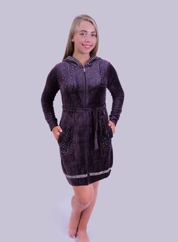 Велюровый халат женский Капюшон, фото 2