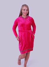 Велюровый халат женский Капюшон, фото 3