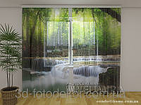 ФотоТюль Водопад в весеннем лесу