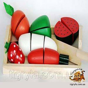Продукты на липучке. Разрезные фрукты, овощи деревянные на липучках, продукты разрезные