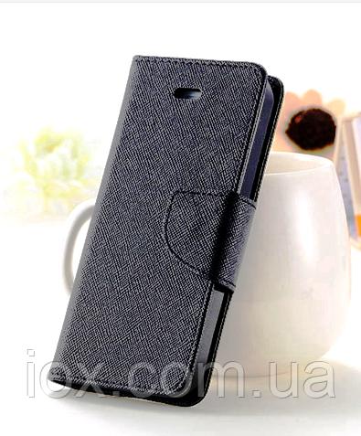 Черный чехол-книжка для Iphone 4/4S на магнитной застежке и с ремешком на руку