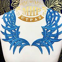 Кружевной фрагмент 23х10см Цвет- Hawai Blue 1шт
