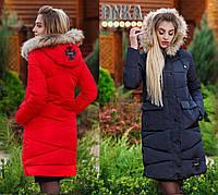 Женское   зимнее пальто+мех енот (холлофайбер)