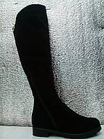 Ботфорты женские замша и кожа натуральная евромех на низком каблуке на широкую ногу змейка до верха
