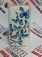 Силиконовый чехол бампер для Lenovo A390 с картинкой Голубые бабочки