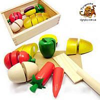 Деревянные продукты разрезные на липучках с ножом, деревянная игрушка овощи и фрукты нарезные кухня