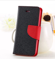 Черный с красным чехол-книжка для Iphone 4/4S на магнитной застежке и с ремешком на руку