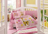КПБ HOBBY детский Sateen Puffy розовый 100*150/2*35*45