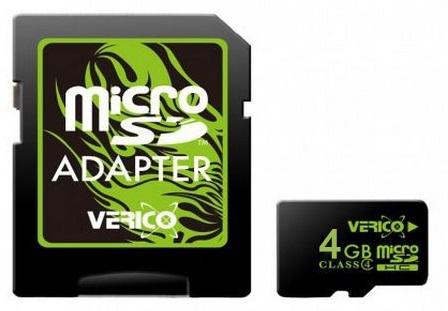 Карта памяти Verico MicroSDHC 4GB Class 4+SD adapter