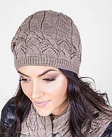 Стильный женский вязанный комплект из шапки и шарфа