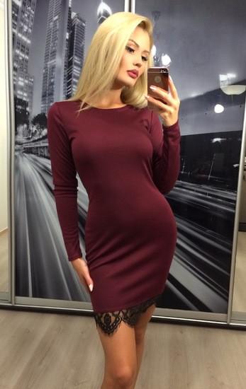 Платье женское, бордовое