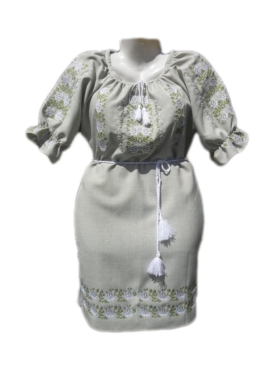 """Женское вышитое платье """"Хрупкие розы"""" PL-0010"""