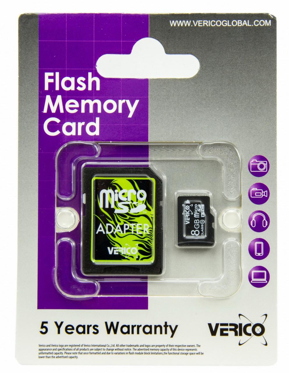 Карта памяти Verico MicroSDHC 8GB Class 10+SD adapter