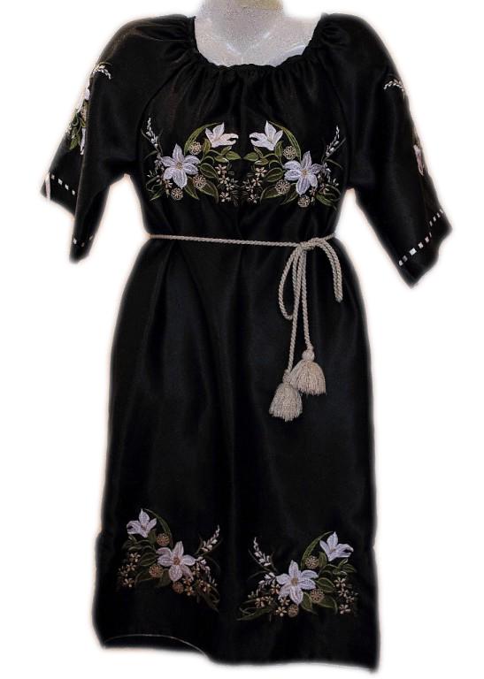 """Жіноче вишите плаття """"Білі лілії"""" (Женское вышитое платье """"Белые лилии"""") PL-0003"""