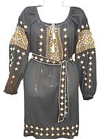 """Жіноче вишите плаття """"Золотистий орнамент"""" (Женское вышитое платье """"золотистый орнамент"""") PL-0004"""