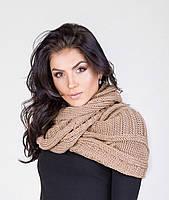 Стильный женский вязанный шарф-накидка