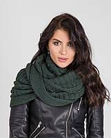 Теплый женский вязанный шарф-хомут бутылочного цвета