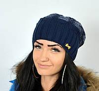 """Удлиненная шапка. Женская шапка """"Вуаль"""" синий."""