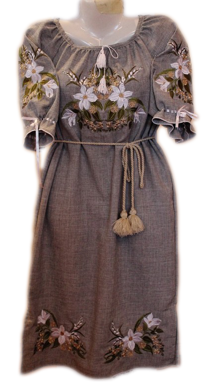 """Женское вышитое платье """"Букет лилий"""" PL-0014"""