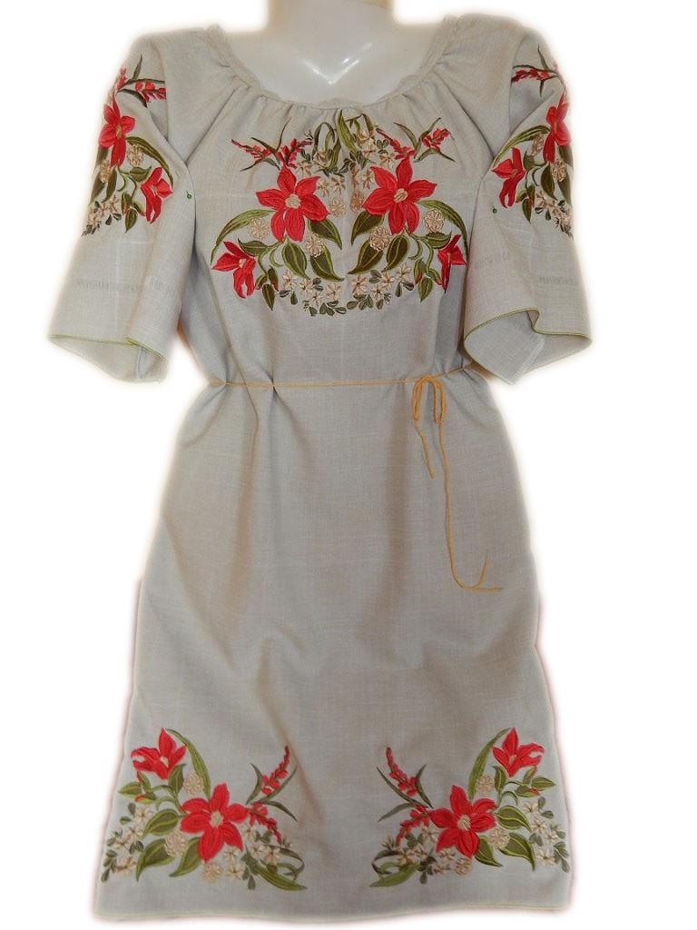 """Жіноче вишите плаття """"Тендітні лілії"""" (Женское вышитое платье """"Хрупкие лилии"""") PL-0016"""