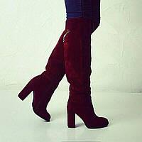 Сапоги зимние высокие, замша/кожа бордовые и черные на каблуке Uk0353