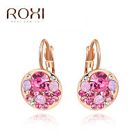 Серьги классические розовые с кристаллами Svarovski в золоте