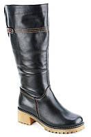 Сапоги женские зимние кожаные черные Romax 6167