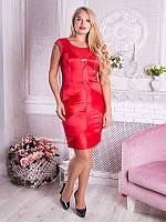 Нарядное красное платье больших размеров (рр 48-54)