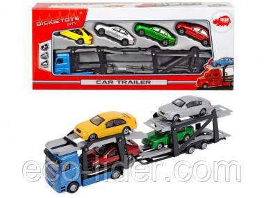 Автотранспортер с 4 машинками, 28 см, 2 вида, 3+