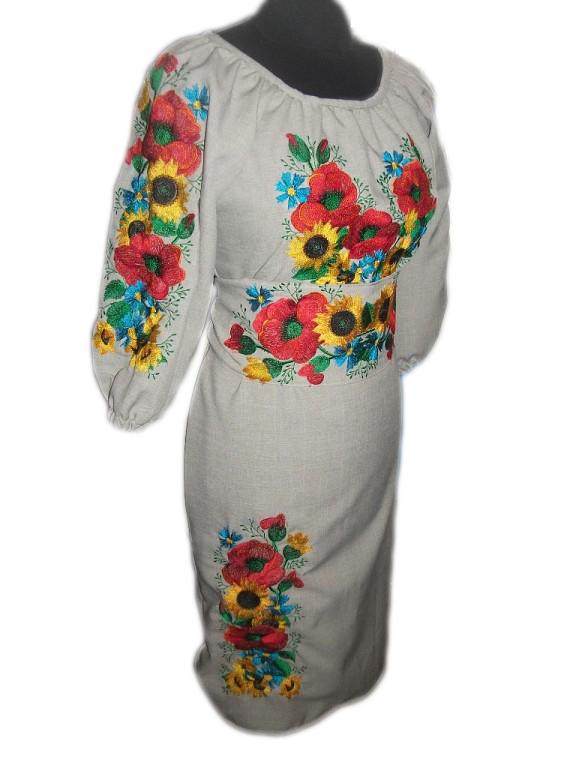 "Жіноче вишите плаття ""Ерлайн"" (Женское вышитое платье ""Ерлайн"") PT-0004"