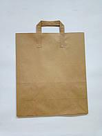 """Пакет бумажный """"крафт"""" с плоскими ручками 32*38 см/коричневый"""