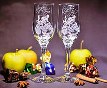 Новогодние Бокалы, лазерная гравировка, Дед Мороз и Олень