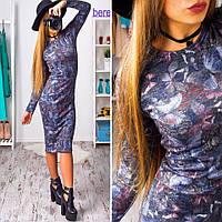 Платье миди принт бабочки на темном фоне, длинный рукав, ангора меланж