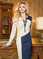 Женское комбинированное платье в стиле casual