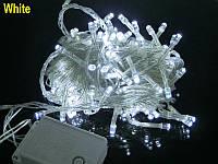 Внутренняя Гирлянда светодиодная нить, 100 led  белый прозрачный провод - цвет белый