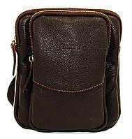 Кожаная мужская сумочка Mk12 коричневая фактурная