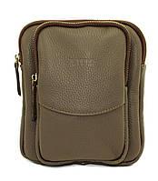Кожаная мужская сумочка Mk12 серая фактурная
