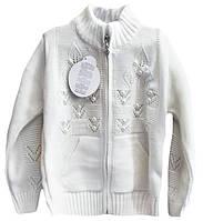 Детская кофта с вязаным ажуром и бусинами, на 5-9 лет, белая