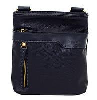 Кожаная мужская сумочка Mk13 синяя фактурная