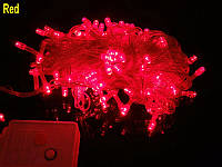 Внутренняя Гирлянда светодиодная нить, 100 led  белый прозрачный провод - цвет теплый красный