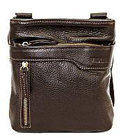 Кожаная мужская сумочка Mk13 коричневая фактурная