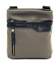 Кожаная мужская сумочка Mk13 серая фактурная